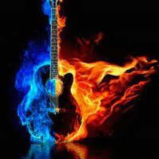 Flaming guitar!