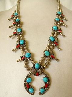 NAVAJO Sterling Silver CORAL TURQUOISE Squash Blossom NECKLACE