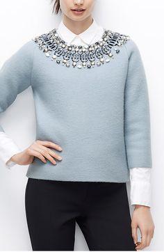 jewel neck sweater