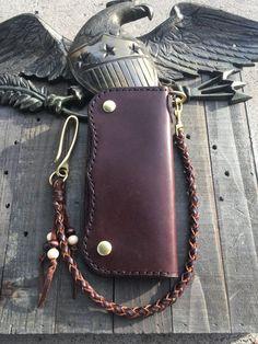 Handmade Leather Long Wallet Biker Wallet Chain Wallet Trucker