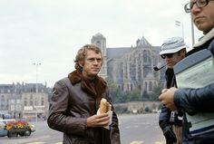 Steve McQueen on the set of Le Mans