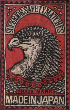 Detail of Japanese Matchbox Label with an Eagle Head by Corbis Japanese Drawings, Japanese Prints, Vintage Posters, Vintage Art, Graphic Design Illustration, Illustration Art, Vintage Fireworks, Matchbox Art, Art Folder