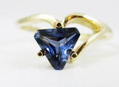 Sapphire Trillion Gold Ring