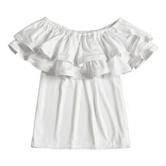 Off Shoulder Tiered Flounce Blouse (71 PEN) ❤ liked on Polyvore featuring tops, blouses, ruffle top, off the shoulder ruffle blouse, off-shoulder ruffle tops, off-the-shoulder blouses and frilly blouse