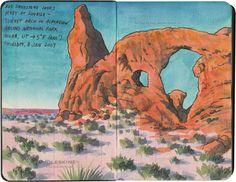 Arches National Park sketch by Chandler O'Leary Watercolor Sketchbook, Art Sketchbook, Watercolor Illustration, Watercolor Paintings, Watercolors, Water Sketch, Van Gogh Drawings, City Sketch, Travel Sketchbook