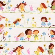 Hopscotch - Line of Girls by David Walker for FreeSpirit Fabircs