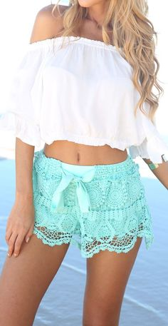Mint Lace Shorts I would of course cover the belly.