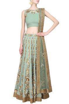 Joy Mitra sage green lengha set with gold and mirror work