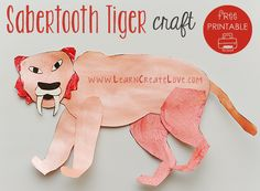 Sabertooth Tiger Printable Craft from LearnCreateLove.com