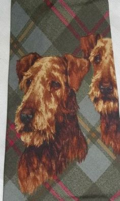 Vintage Polo Ralph Lauren Airedale Terrier Dog Plaid Made in USA Silk Tie