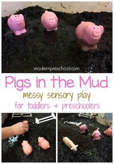 Pigs in the Mud Sensory Bin Get your hands dirty with this sensory bin full of mud! Kids can roll the pigs around in mud to go along with a farm, fall or spring theme. Sensory Tubs, Sensory Play, Farm Sensory Bin, Sensory Rooms, Farm Activities, Preschool Activities, Vocabulary Activities, Spring Activities, Indoor Activities
