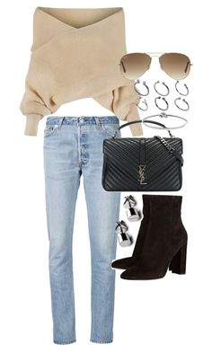 """Untitled #20624"" by florencia95 ❤ liked on Polyvore featuring RE/DONE, WithChic, Yves Saint Laurent, Gianvito Rossi, Ray-Ban, ASOS and Michael Kors"
