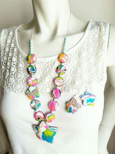 Neon mokume gane  Handmade polymerclay necklace