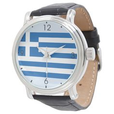 Shop Greek Flag Watch created by FlagsOfTheGlobe. Vintage Leather, Vintage Men, Greek Flag, Flag Shop, Watch Ad, Out Of Style, Vintage Style Outfits, Classic Looks, Quartz