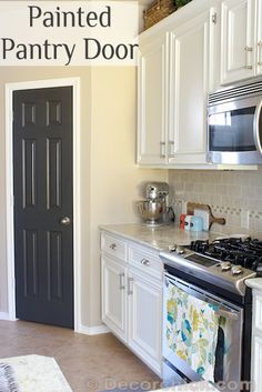 Painted Pantry Door - Door color: Iron Ore by Sherwin Williams. Satin finish (not glossy) Walls are SW - Balanced Beige Painted Pantry Doors, Painted Interior Doors, Painted Doors, Interior Paint, Interior Trim, Interior Ideas, Kitchen Redo, Kitchen Remodel, Kitchen Design