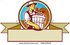 Illustration of an organic farmer carrying basket of harvest crops looking to the side set inside circle and ribbon with barn and sunburst in the background done in retro style. #farmer #retro #illustration