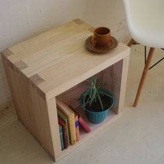 Wooden side or coffee table, storage cube handmade from recycled timber. via Etsy