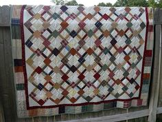 Simples patchwork quilt on point.Good design for a man's quilt.