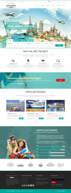 Buy Travel Agency Bootstrap Template by mecovache on ThemeForest. This travel HTML site template is made with Bootstrap, CSS, and JS frameworks. Web Design Grid, Web Design Mobile, Web Design Agency, Web Design Templates, Template Site, Html Templates, Design Services, Travel Agency Website, Travel Website Design