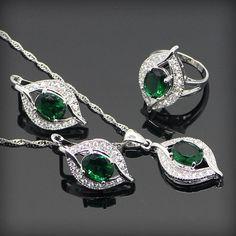 Verde Esmeralda Creado Topacio Blanco 925 Plata de La Joyería Para Las Mujeres Pendientes/Colgante/Collar/Anillos de Envío Caja de regalo