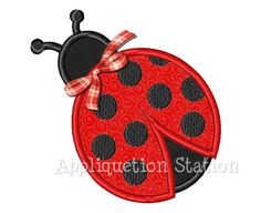 Ladybug Ladybird Applique Machine Embroidery Design red black polka dot bow INSTANT DOWNLOAD via Etsy
