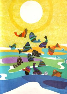 Illustration by Sakura Fujita taken from 'The Moon and the Fishes' by Sukeyuki Imanishi. One Fish Two Fish, Sea Fish, Children's Book Illustration, Book Illustrations, Cute Photography, Mundo Animal, Creative Pictures, Sea And Ocean, Fish Art