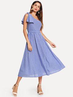 4e50c42089b0 Shop One Shoulder Bow Elastic Waist Striped Dress online. SHEIN offers One  Shoulder Bow Elastic Waist Striped Dress   more to fit your fashionable  needs.