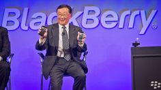 BlackBerry CEO John Chen appears at a news conference for the company's BlackBerry Classic in December in New York. BlackBerry shares jumped on Wednesday, after a report that Samsung has approached the Canadian company with a takeover offer.
