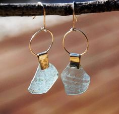 Long Gold Filled Roman Glass Earrings.Transparent Ancient Glass Earrings.Textured.Ancient Glass Earrings. Roman Glass Jewelry from Israel. https://www.etsy.com/il-en/listing/172614832/gold-filled-roman-glass-long?ref=shop_home_active