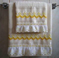 Jogo de toalha de banho e rosto(+piso) Buettner em ponto reto degradê amarelo