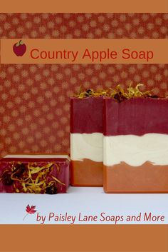 Country Apple Soap is a great fall scent that will have you thinking of fall and everything apples---Paisley Lane Soaps and More--http://paisleylanesoaps-com.3dcartstores.com/Country-Apple-4-oz_p_240.html
