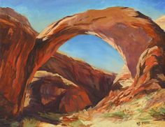 "NJ Busse Fine Art-Original Landscape Painting,Arches Over Lake Powell ""Rainbow Arch"" by Colorado Artist Nancee Jean Busse Painter of the American West"