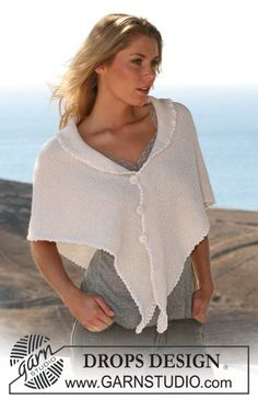 """DROPS knitted shawl in """"Alpaca"""" with crochet border in """"Cotton Viscose"""". ~ DROPS Design - free"""