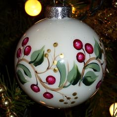 Christmas Vines & Cranberry Berries Glass Christmas Ornament Hand Painted via Etsy.