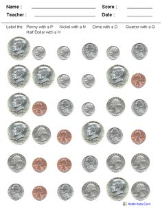 Great website for generating any math worksheets.   Identify the Coins Worksheets