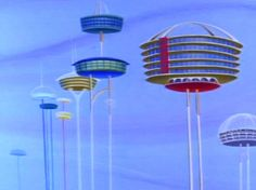 Dreamlike Concept Images of Cities that Float High Above the Clouds Future City, Future House, Bg Design, 1950s Design, Interior Design, The Jetsons, Retro Futuristic, Futuristic Architecture, Atomic Age