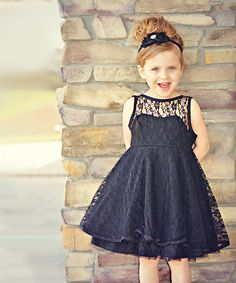 Look at this Xcel Couture Black Lace A-Line Dress - Toddler & Girls on #zulily today!