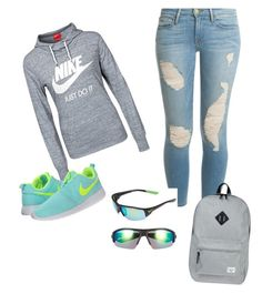 """""""@nana_wild"""" by eelveus on Polyvore featuring NIKE, Frame Denim and Herschel Supply Co."""