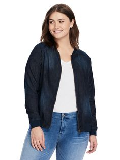 Denim Bomber Jacket by Love & Legend by Addition Elle Available in sizes 12-24