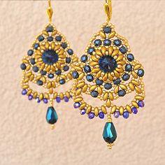 charoit / Šité náušnice modro-zlaté