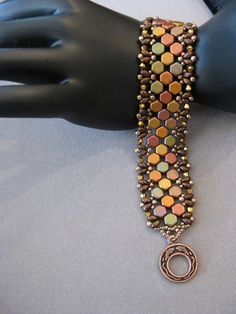 Handmade Multicolor Honeycomb and Superduo Beaded Bracelet