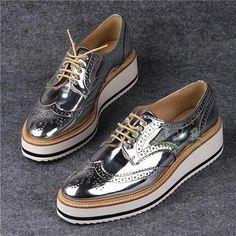 Ref 1341/001 Brand 2015 ZA Womens Fashion Sneakers Silver Flat platform bluchers vintage Lace-ups Seam details broguing shoes