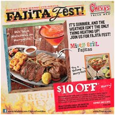 Restaurant Coupons, Restaurant Deals, Mixed Grill, Fast Food Chains, Fajitas, Chevy, Watermelon, Grilling, Favorite Recipes