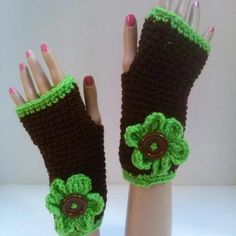 Brown and Green Fingerless Gloves | Surprise Designs