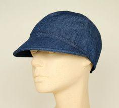 Mütze mit Schirm, Baumwolle, jeansblau von Sirkka Design Hüte auf DaWanda.com