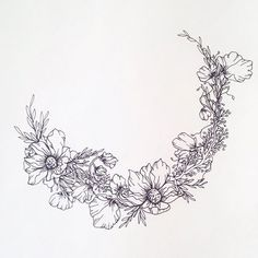 Crescent with dahlias and sweet peas. #monvoir #illustration: