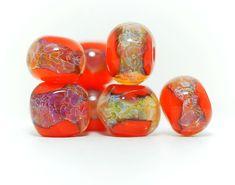 Lampwork BORO glass beads (8) borosilicate glass beads, handmade borosilicate glass beads, orange, purple, ochre, brown. borosilicate SRA by Juliyamrboro on Etsy