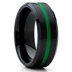 Purchase Green Tungsten Wedding Ring - Black Band - Green Tungsten Band from Silly Kings Jewelry on OpenSky. Share and compare all Rings in . Black Tungsten Rings, Tungsten Wedding Rings, Green Rings, Black Rings, Turquoise Color, Jewelry King, Black Wedding Rings, Beautiful Rings, Wedding Bands