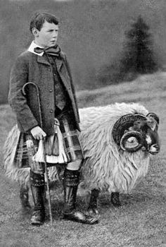+~+~+ Vintage Photograph +~+~+ Young Shepherd in a Kilt ~ Scotland