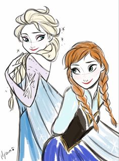 Elsa and Anna by Nyamö #frozen #disney #fanart